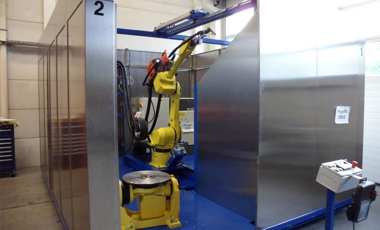 Transportable Roboter Schweißzelle WIG und MAG